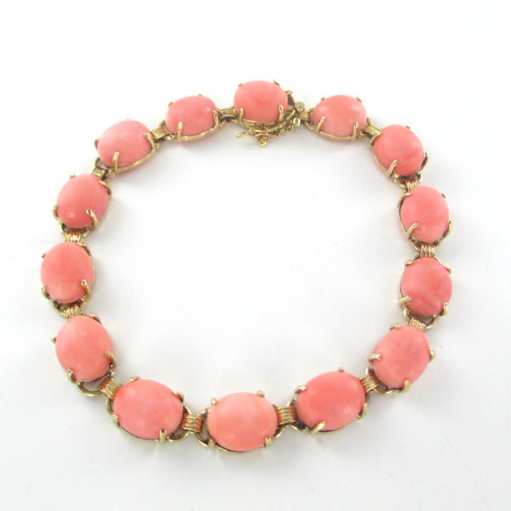 015398619 14KT YELLOW GOLD & PEACH  CORAL BRACELET 15.5 GRAMS ANTIQUE