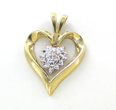 10K SOLID YELLOW GOLD HEART PENDANT 1 GENUINE DIAMOND .02 CARAT LOVE FINE JEWEL
