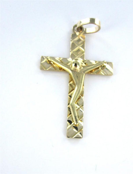 14K GOLD PENDANT CHARM CRUCIFIX CROSS CHRIST JESUS CATHOLIC CHURCH GOD 015554112