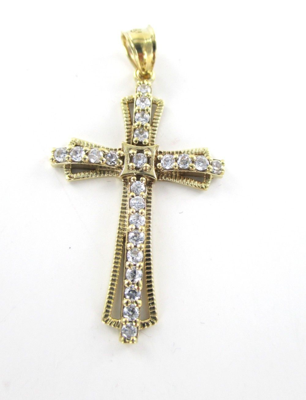 10KT SOLID YELLOW GOLD PENDANT CROSS WHITE STONES  CHARM RELIGIOUS990055772