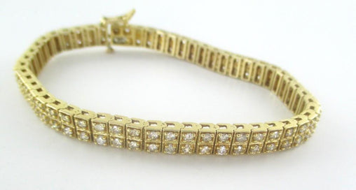 014439501 14KT YELLOW GOLD BRACELET BANGLE TENNIS JEWELRY 110 DIAMONDS 7.7CT