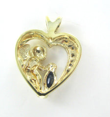 10K YELLOW GOLD PENDANT HEART CHARM 4 DIAMONDS .4 CARAT ANGEL CHERUB
