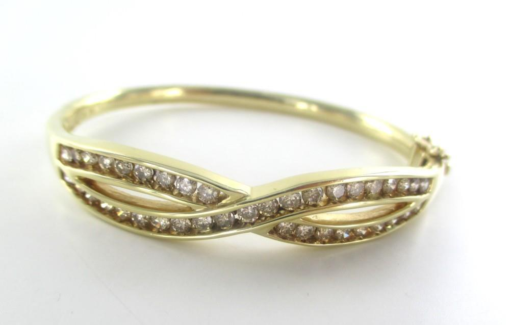 014688502 14KT GOLD BANGLE BRACELET 39 DIAMONDS 2.0 CARAT ZEI DESIGNER HALLMARK