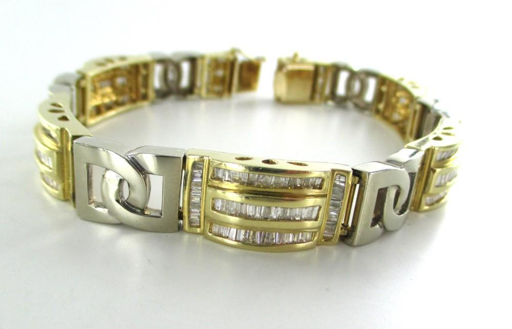 014811401 14KT YELLOW WHITE GOLD BANGLE BRACELET 368 GENUINE DIAMONDS 7.50 CARAT