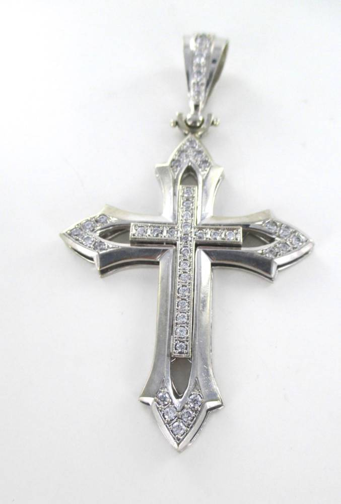 10KT WHITE GOLD CROSS 29.2 GRAMS WHITE STONES ZIRCONIA RELIGIOUS FAITH 015450702