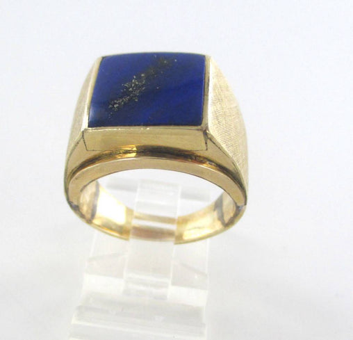 14KT SOLID YELLOW GOLD LAPIZ LAZULI SZ 9 KEVIN DESIGNER 11.3 GRAMS MENS JEWELRY