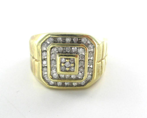 10KT SOLID YELLOW GOLD RING MEN 39 DIAMONDS SZ 11.5  JEWELRY 7.9 GRAMS 014327404