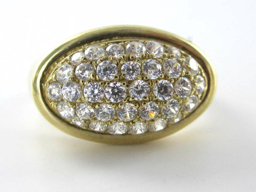 10K SOLID YELLOW GOLD 4.8 GRAMS RING WHITE STONES SZ 8 ANTIQUE VINTAGE