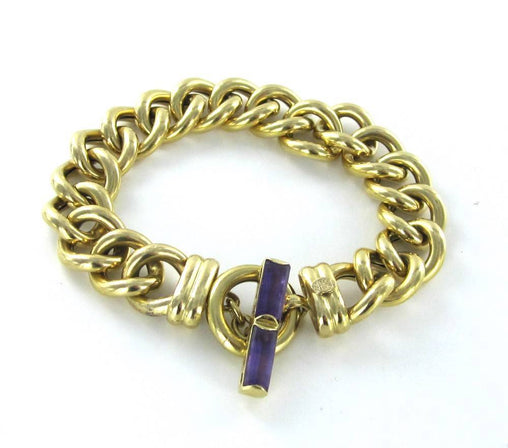 015633301 18KT YELLOW GOLD ITALIAN OTC TOGGLE CURB LINK BRACELET PURPLE STONE