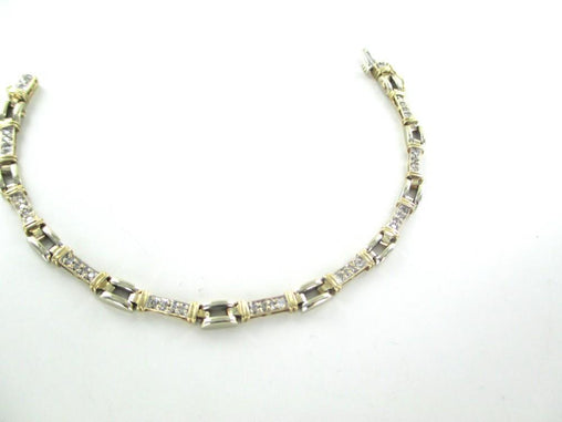 14KT YELLOW WHITE GOLD BRACELET 40 DIAMONDS .80 CARAT BANGLE NO SCRAP JEWELRY