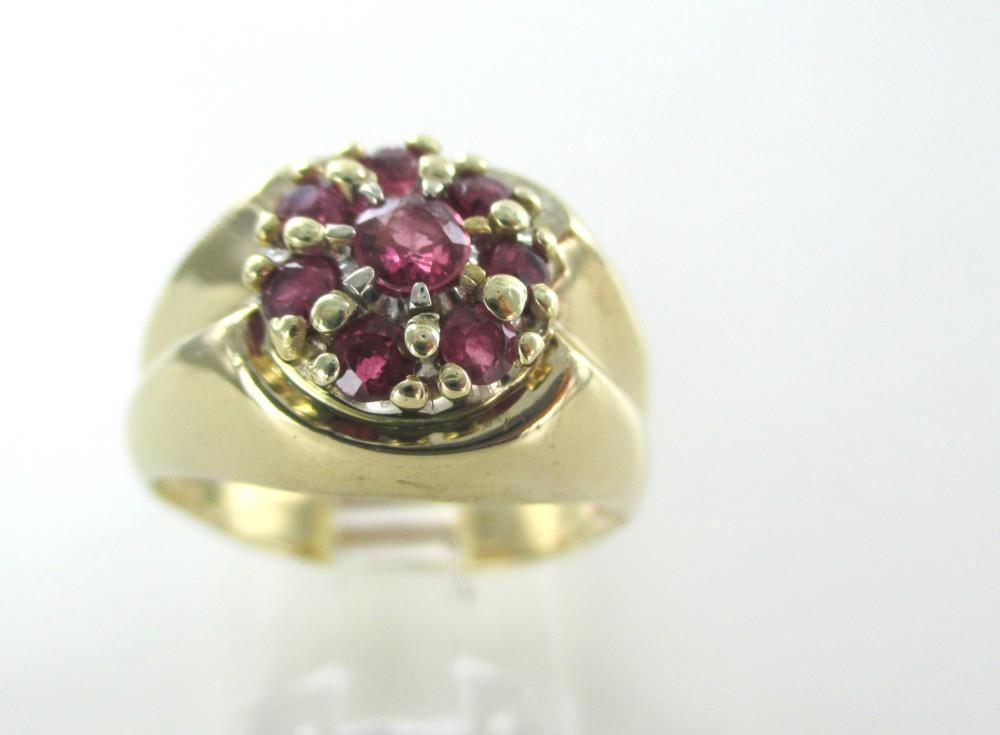 14K YELLOW SOLID GOLD RING FLORAL RED STONES 7.1 GRAMS COCKTAIL RING SZ 9 JEWEL