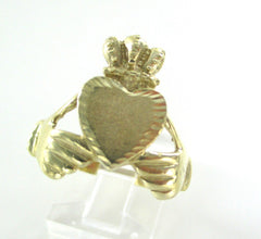 10K YELLOW SOLID GOLD RING CLADDAGH SAINT PATRICK IRISH LOVE LOYALTY FRIENDSHIP