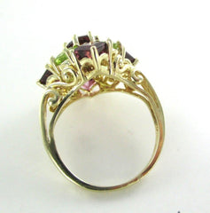 10K YELLOW SOLID GOLD RING WEDDING BAND PERIDOT GARNET SZ 7 FINE JEWELRY