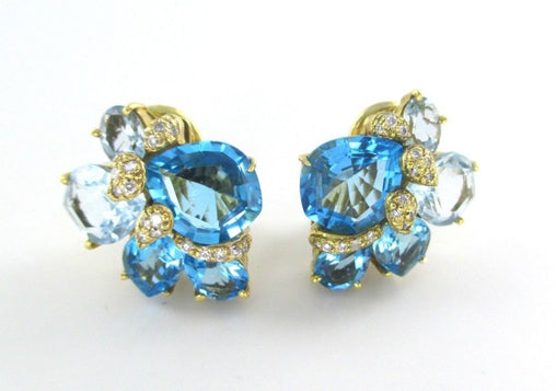 18KT GOLD EARRINGS WENDEE & RENE'S DESIGNER 32 DIAMONDS BLUE TOPAZ 013257802