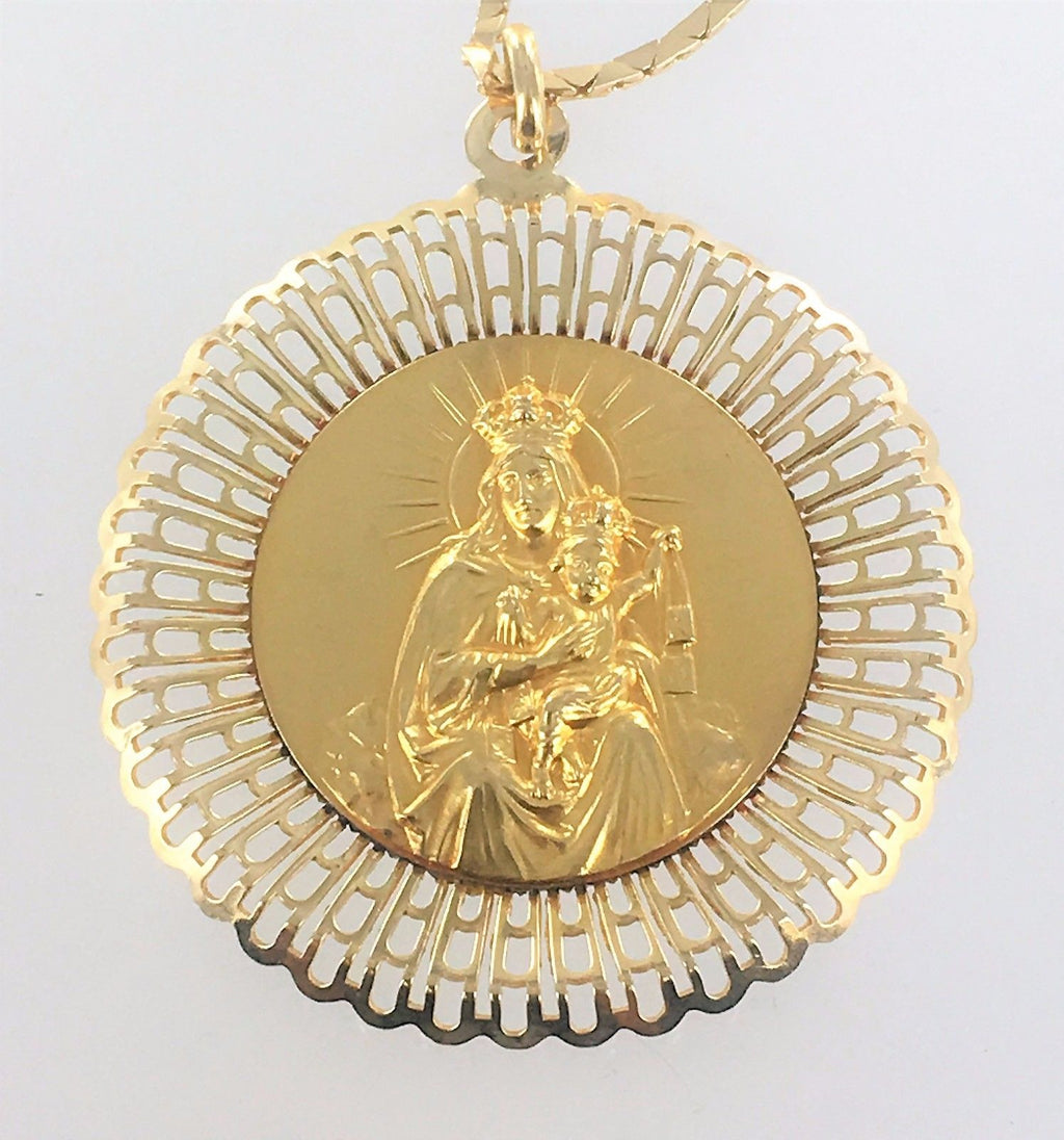 14KT  GOLD TRIANGLE LINK CHAIN VIRGIN MARY BABY JESUS AMULET PENDANT 16099501