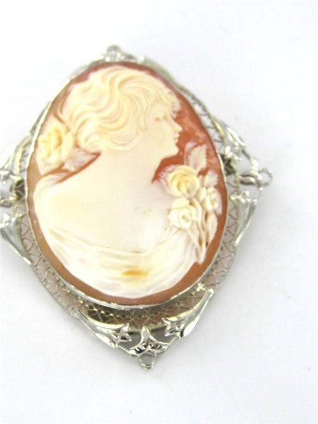 10KT SOLID WHITE GOLD PIN BROOCH CAMEO LADY K & S INC DESIGNER PENDANT 015769903