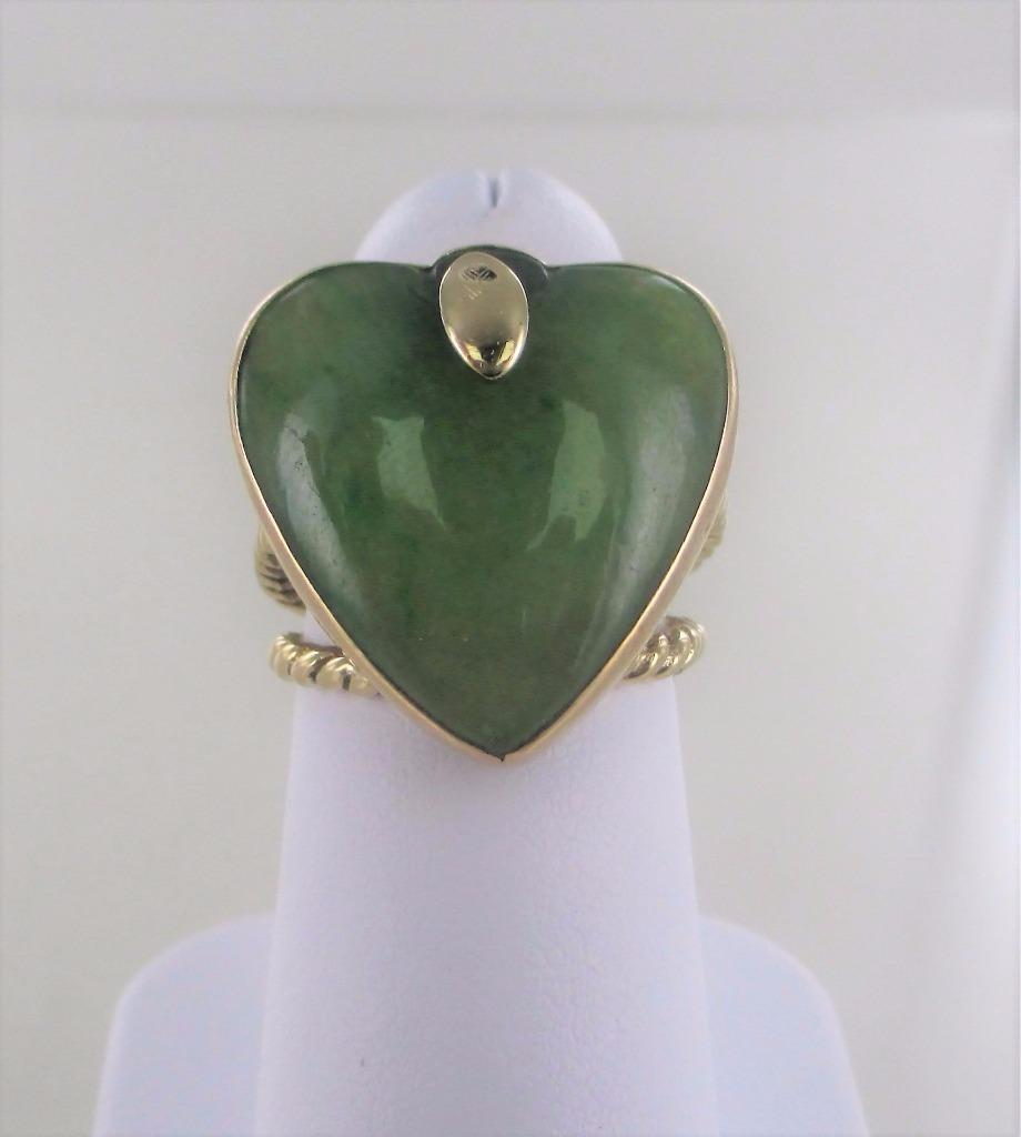 14KT YELLOW GOLD WOMAN'S HEART GREEN JADE VALENTINE RING SIZE 5.5
