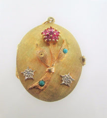 14KT YELLOW GOLD TO MOTHER FROM THE CHILDREN 4 PICTURE FLOWER LOCKET