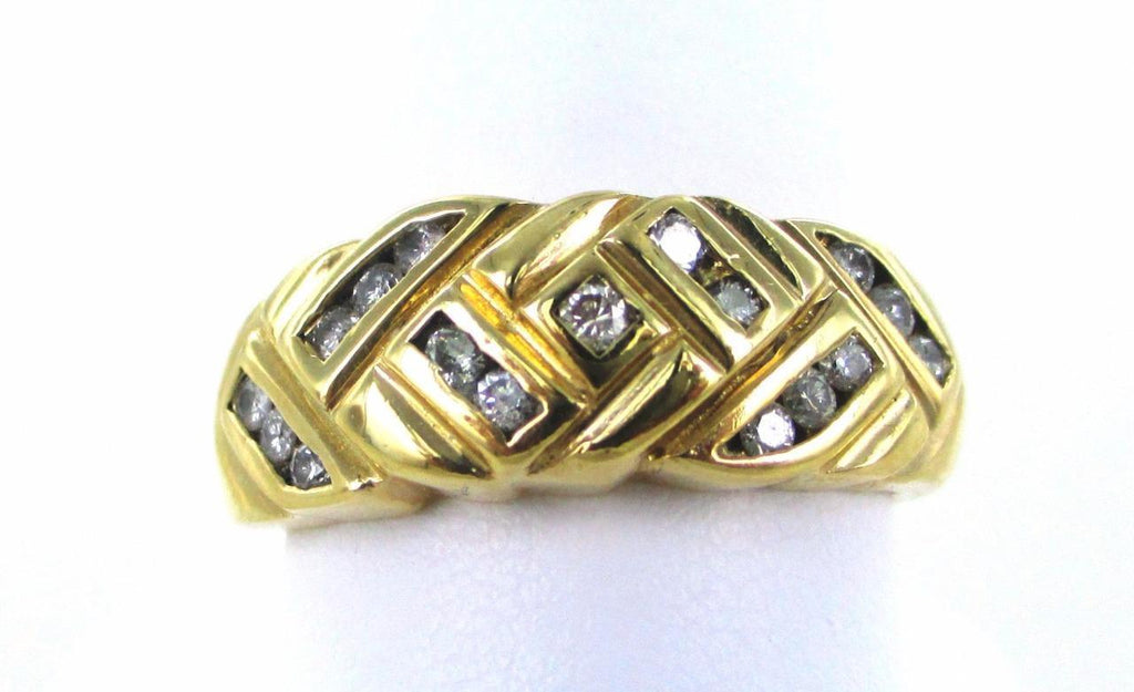 14KT SOLID YELLOW GOLD 17 DIAMOND SIZE 9 WEDDING BAND RING 014548303