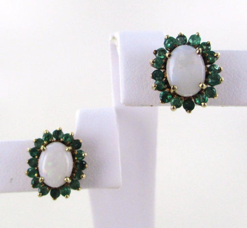 10KT SOLID YELLOW GOLD WHITE FIRE OPAL GREEN EMERALD EARRINGS