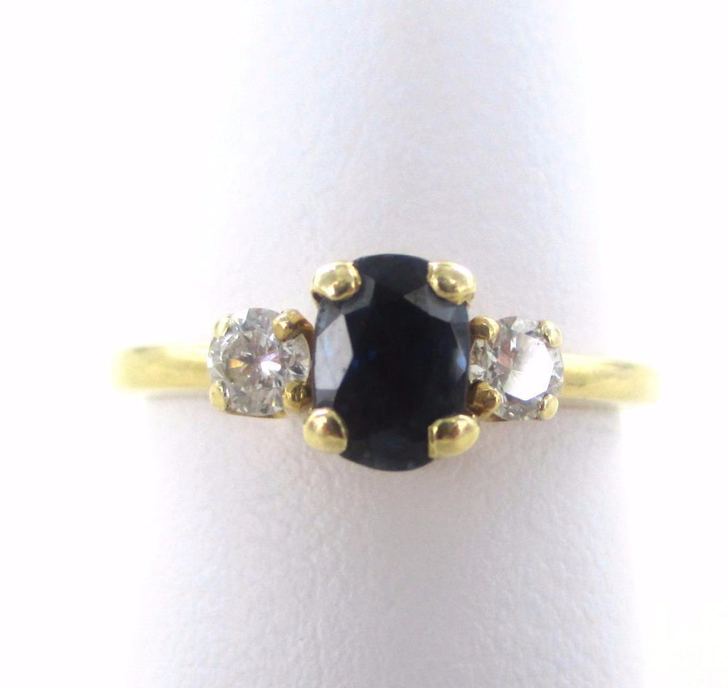 14KT SOLID YELLOW GOLD 2 DIAMONDS BLUE SAPPHIRE SEPTEMBER SATURN COCKTAIL RING