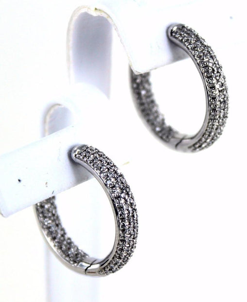 14KT SOLID WHITE GOLD 260 PAVE DIAMONDS HOOP EARRINGS