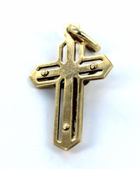 10KT SOLID YELLOW GOLD JESUS CHRIST CRUCIFIX CATHOLIC CHRISTIAN PENDANT CHARM