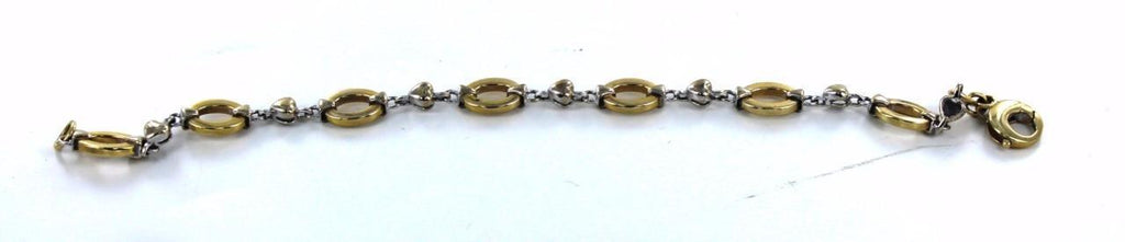 "14KT SOLID YELLOW & WHITE GOLD TWO TONE OVAL & HEART LINK 7"" BRACELET"