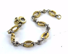 14KT SOLID YELLOW & WHITE GOLD TWO TONE OVAL & HEART LINK 7