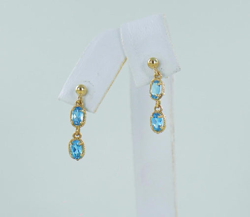 10KT YELLOW GOLD BLUE TOPAZ DANGLE EARRINGS 016532810