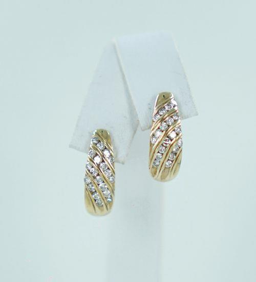 14KT YELLOW GOLD DIAMOND HALF HOOPS .75ATW 013098911
