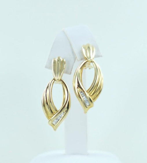 14KT YELLOW GOLD & DIAMOND DOOR KNOCKER EARRINGS .40ATW 014182205