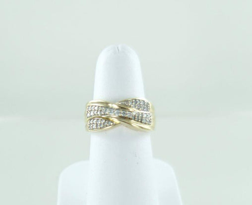WOMANS 14KT YELLOW GOLD DIAMOND DOUBLE ROWS WEDDING BAND SIZE-7 015243001