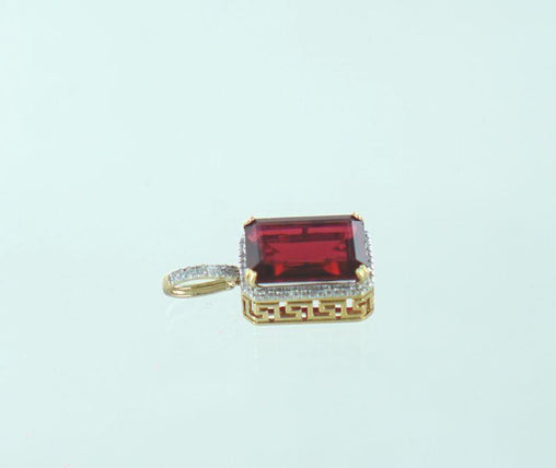 10KT YELLOW GOLD DIAMOND & GARNET PENDANT .24 ATW 016487002