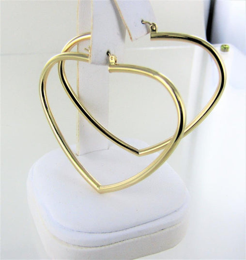 14KT YELLOW GOLD SHINY HEART HOOP EARRINGS 016556615