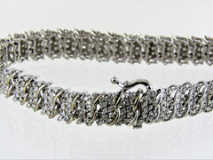 10KT WHITE GOLD DIAMOND BRACELET 7.0