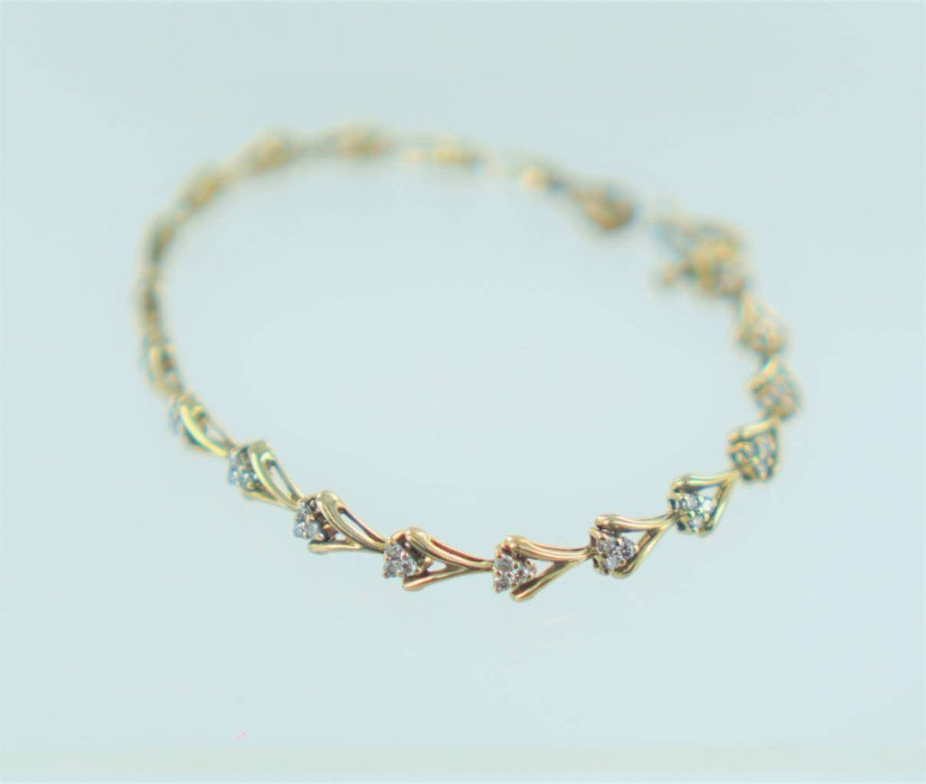 "10KT YELLOW GOLD  DIAMOND TENNIS STYLE BRACELET 7"" 013991702"