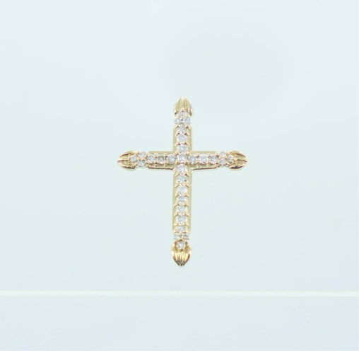 14KT YELLOW GOLD CROSS WITH DIAMONDS PENDANT .75 ATW 1""