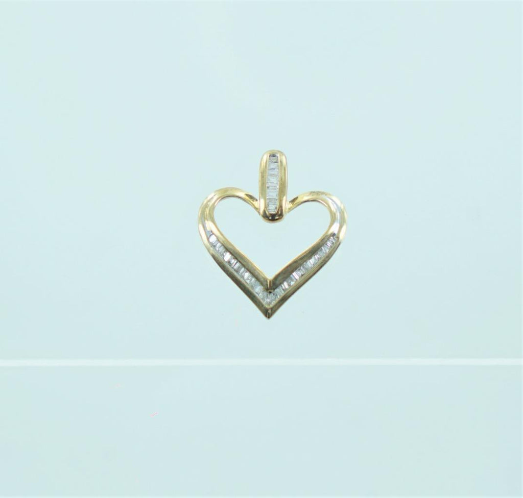 10KT YELLOW GOLD BAGUETTE DIAMOND'S HEART PENDANT .50 ATW 015691311