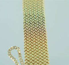 14KT YELLOW GOLD MESH ITALY WIDE BRACELET  6 1/4