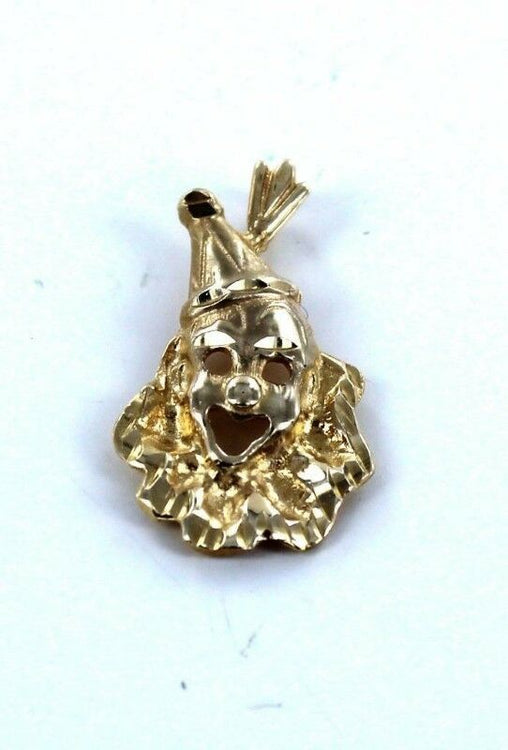 14KT SOLID YELLOW GOLD CIRCUS CLOWN CHARM PENDANT (14184410)