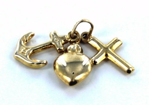 10KT YELLOW GOLD HEART ANCHOR CROSS CHARM PENDANT LOVE FAITH GROUNDIN (15056205)
