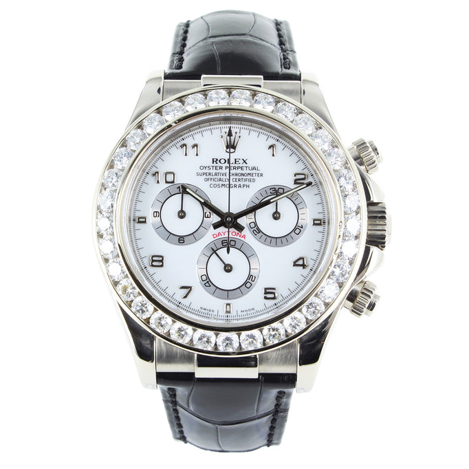 ROLEX DAYTONA 116519 18K WHITE GOLD & LEATHER WATCH