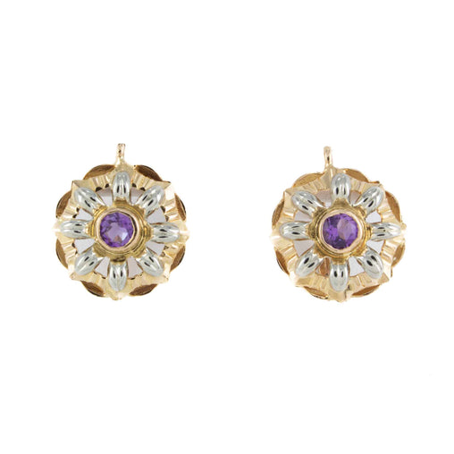 ROUND AMETHYST EARRINGS 18k 2TONE YELLOW GOLD