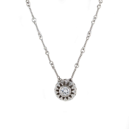 DIAMOND ROUND PENDANT NECKLACE 14K WHITE GOLD