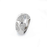 DIAMOND PAVE HEARTS RING 18K WHITE GOLD