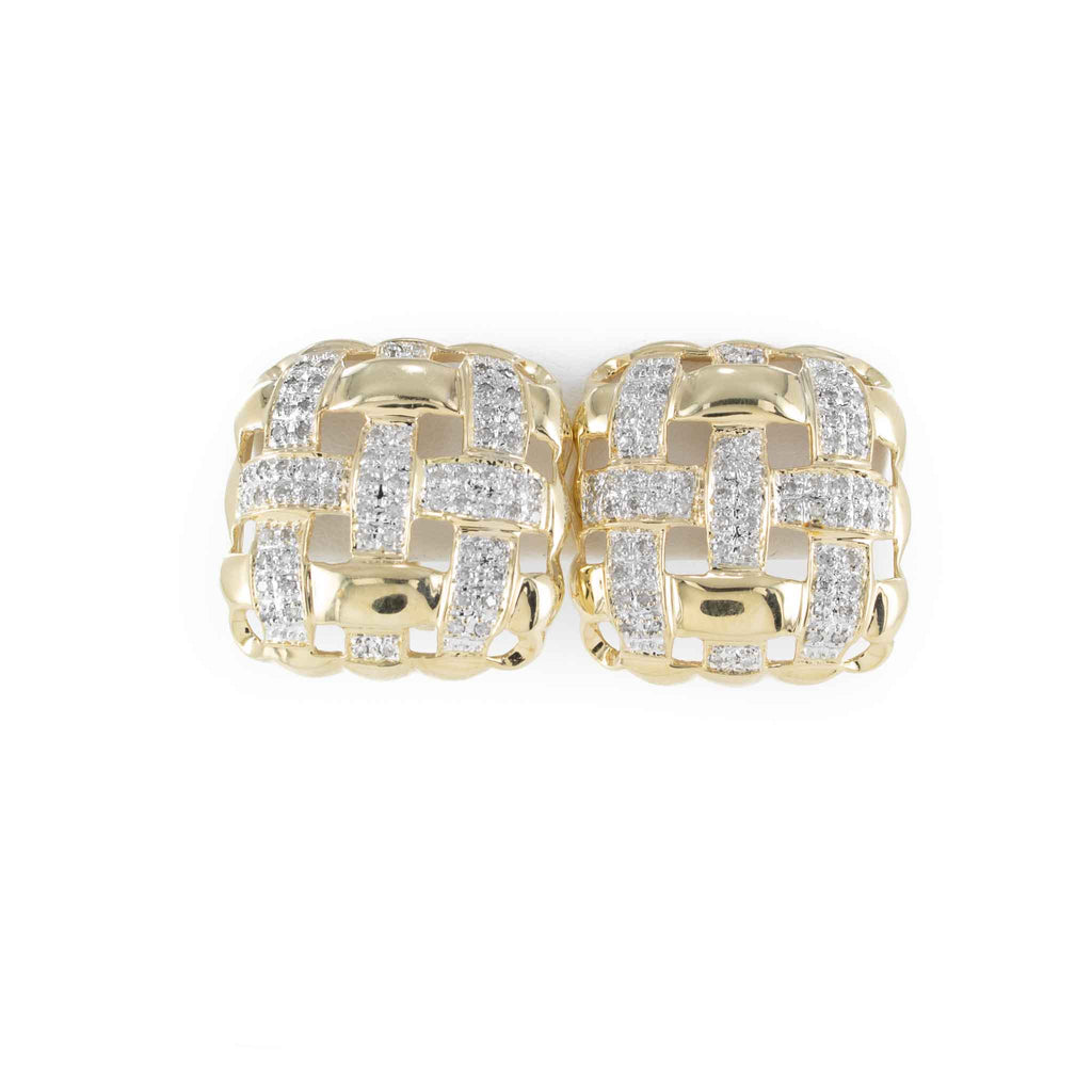 DIAMOND CLIP-ON EARRINGS 14K 2 TONE