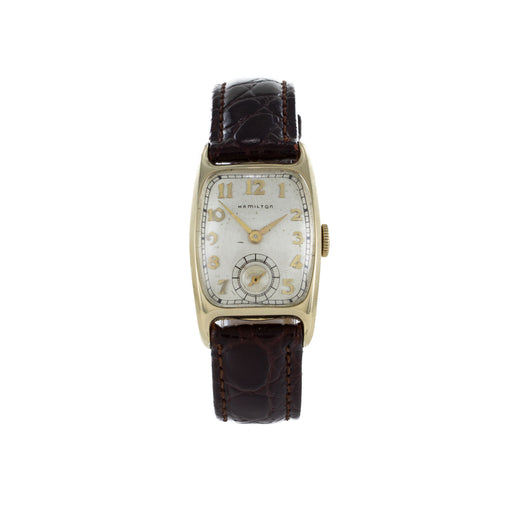 HAMILTON LADIES VINTAGE GOLD LEATHER WATCH