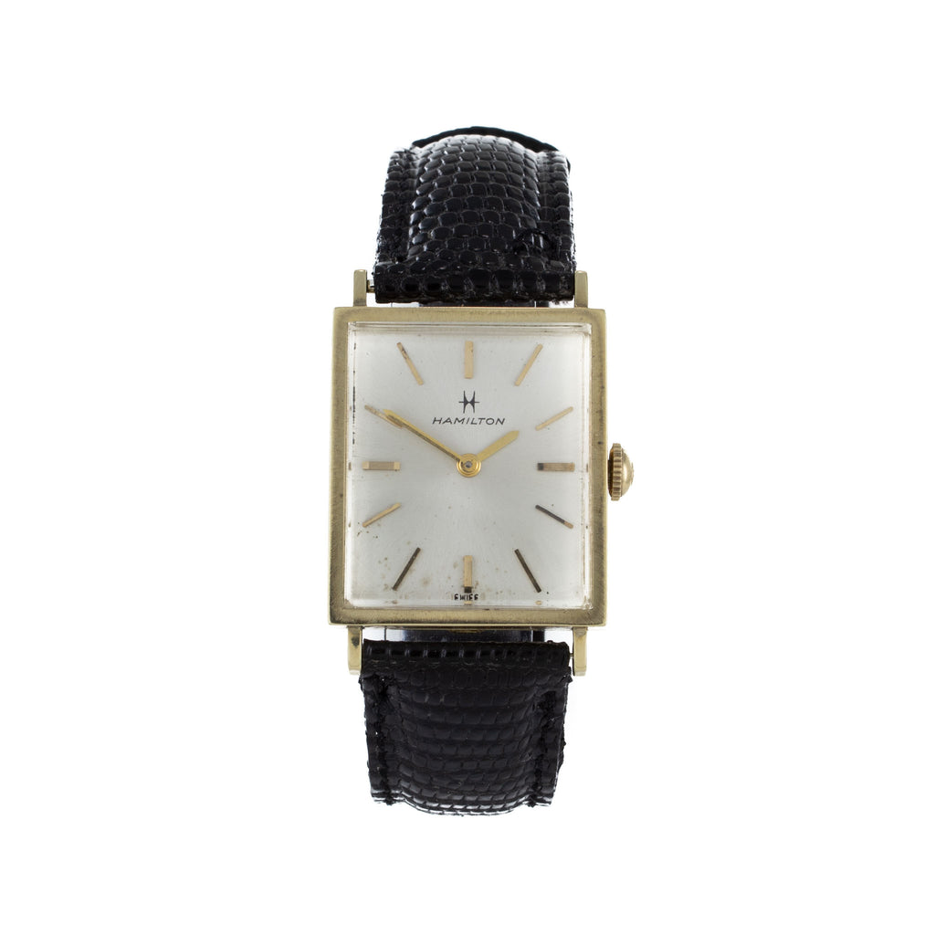 HAMILTON VINTAGE GOLD & LEATHER WATCH