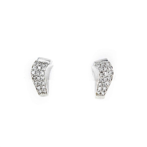 PAVE DIAMOND HUGGIE EARRINGS 14K WHITE GOLD